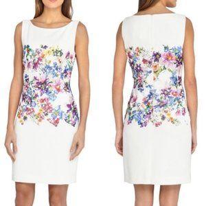 Tahari White Floral Lace Watercolor Shift Dress